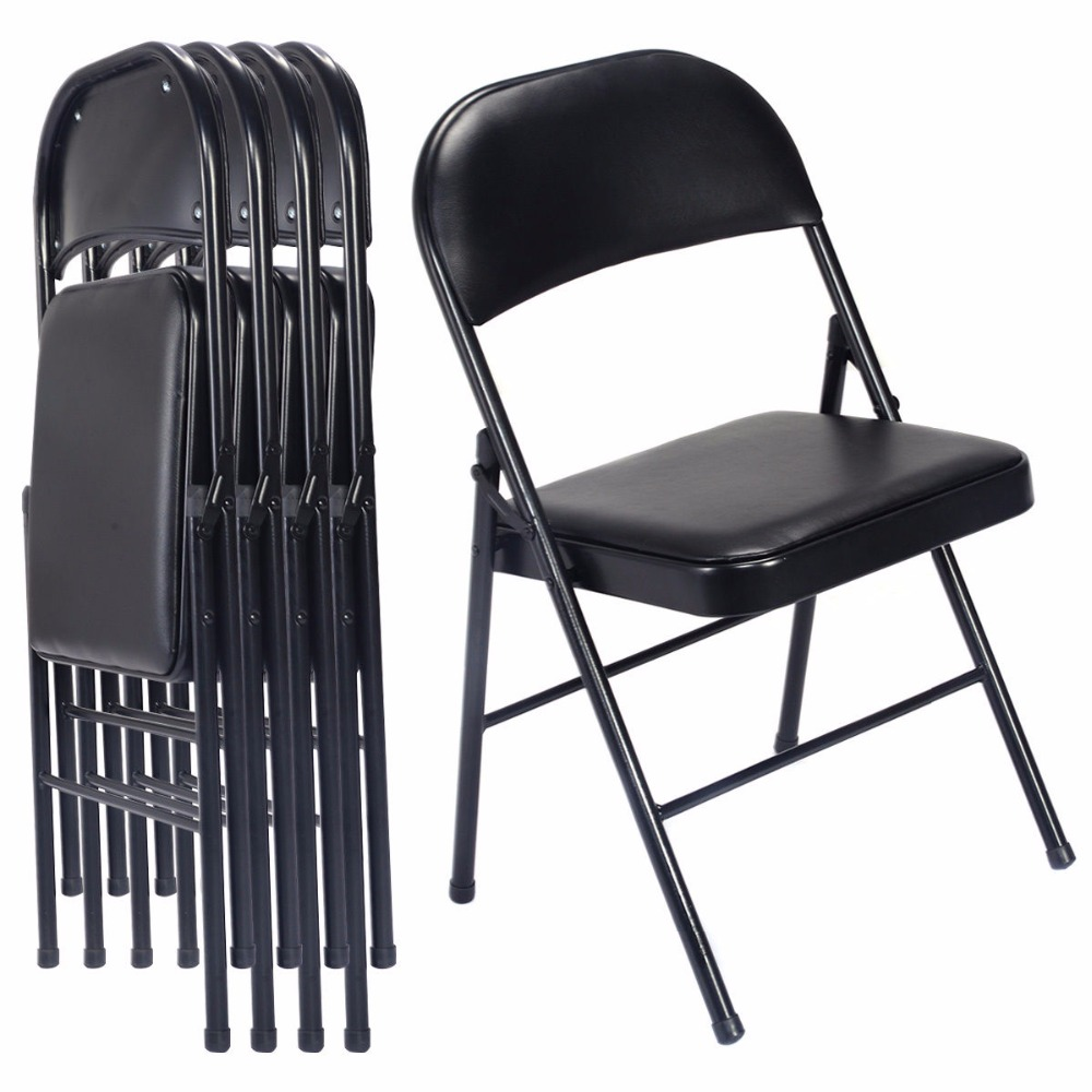 Giantex Set of 4 Black Folding Chairs Steel PU Portable Home Garden Office Furniture HW51683 ...