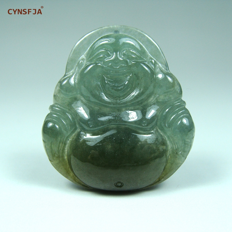 CYNSFJA Real Rare Certified Natural A Grade Burmese Jadeite Amulets Buddha Jade Pendant Green Hand Carved High Quality Best Gift
