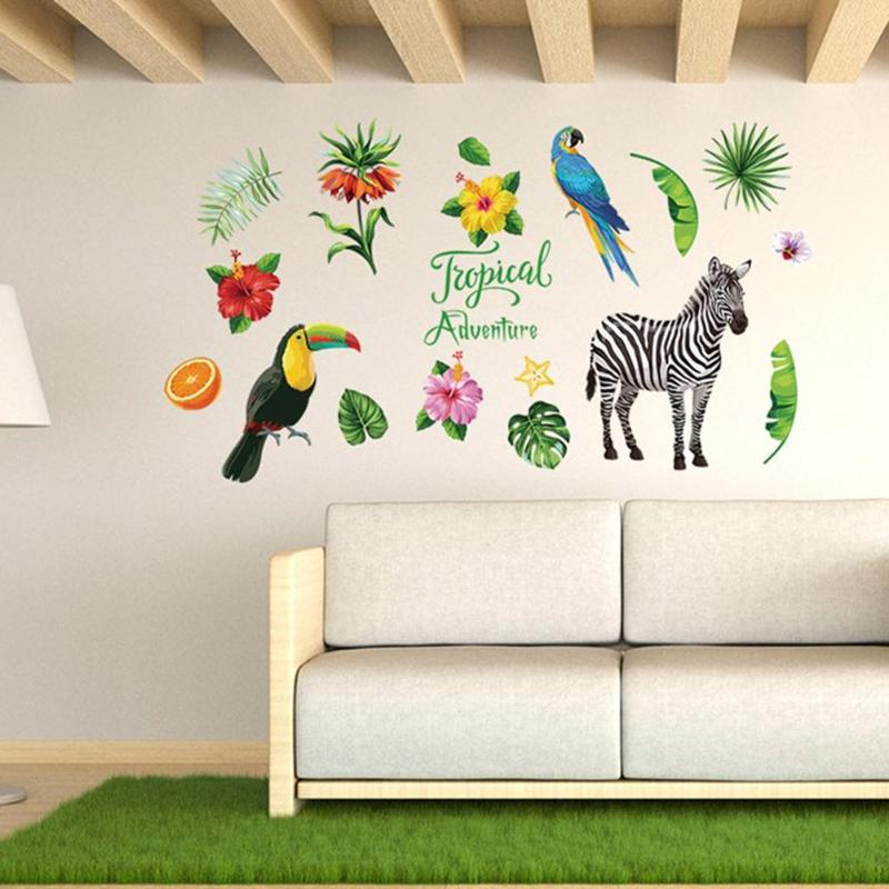 DIY Tropical Zebra PVC Waterproof Wall Stickers Wardrobe Removable Decal Bathroom Toilet Waterproof PVC Wallpaper