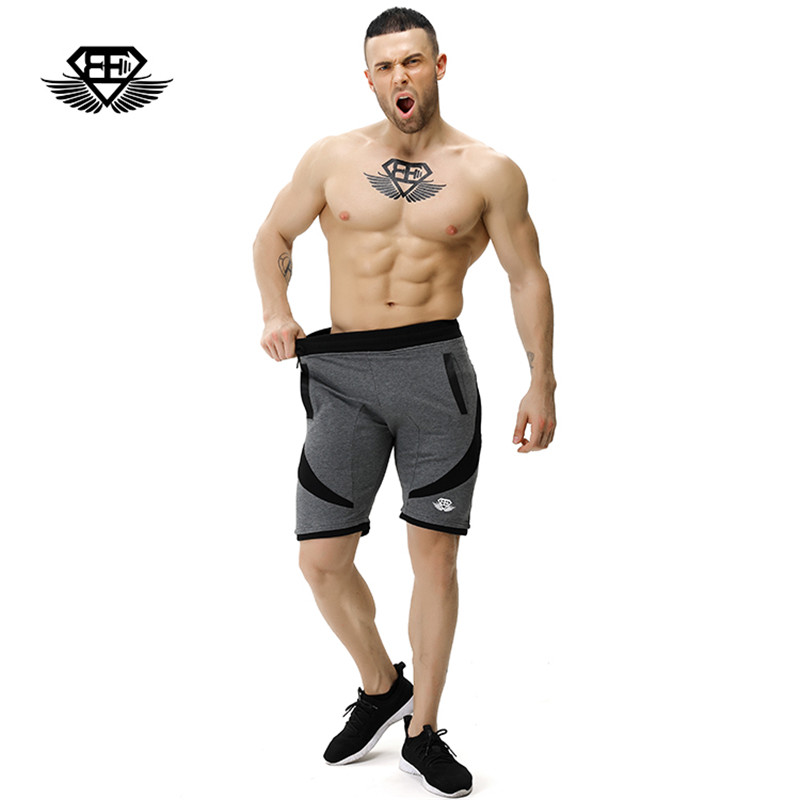 Body engineers 2017 mens summer Bodybuilding fitness loose board shorts men gyms stretch breathable casual Cotton shorts M-XXL