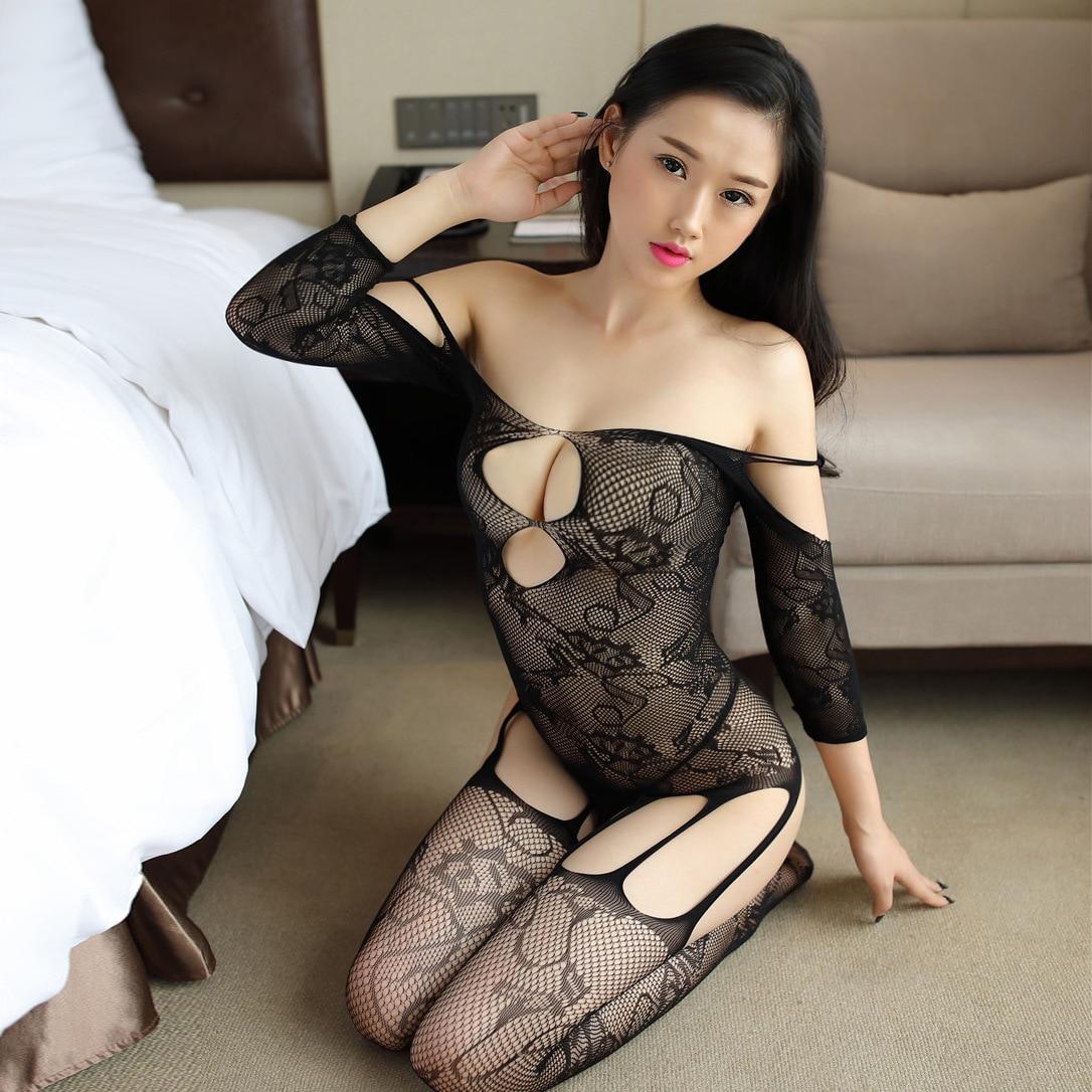 15 pièces évidé jacquard une pièce broderie fleurs fichier ouvert grande taille chaussettes amusantes body sexy résille body transparent