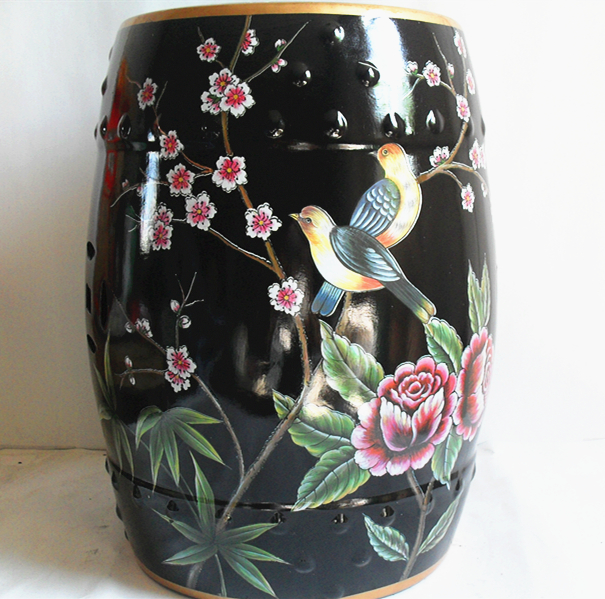 Black Flowers and birds Indoor Chinese ceramic Stool home decoration porcelain garden stool handmade dressing colorful stool the hermitage birds and flowers