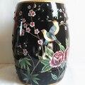 Preto Flores e pássaros Interior Fezes fezes jardim de casa decoração de porcelana artesanal de cerâmica Chinesa vestir banquinho colorido