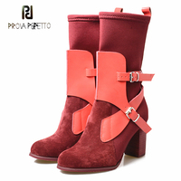Prova Perfetto newest stretch sock boots genuine leather belt buckle round toe chunky high heel chelsea short boots mujer zapato