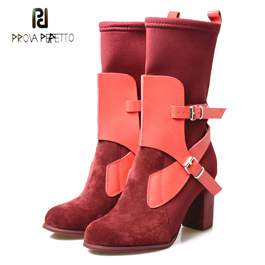 Prova Perfetto newest stretch sock boots genuine leather belt buckle round toe chunky high heel chelsea short boots mujer zapatoProva Perfetto newest stretch sock boots genuine leather belt buckle round toe chunky high heel chelsea short boots mujer zapato