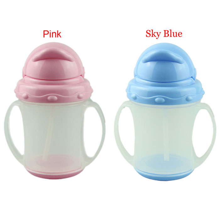 2016 baby feeding bottle cute 2 colors kids baby milk bottle girls boys with straw bottle for kids mamadeira infantil nice