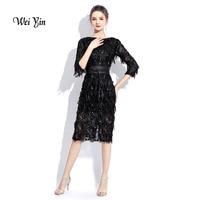 weiyin 2019 Black O neck Half Sleeves Evening Dress Sheath Sequin Elegant Burgundy Dress Formal Party Prom Dress WY840