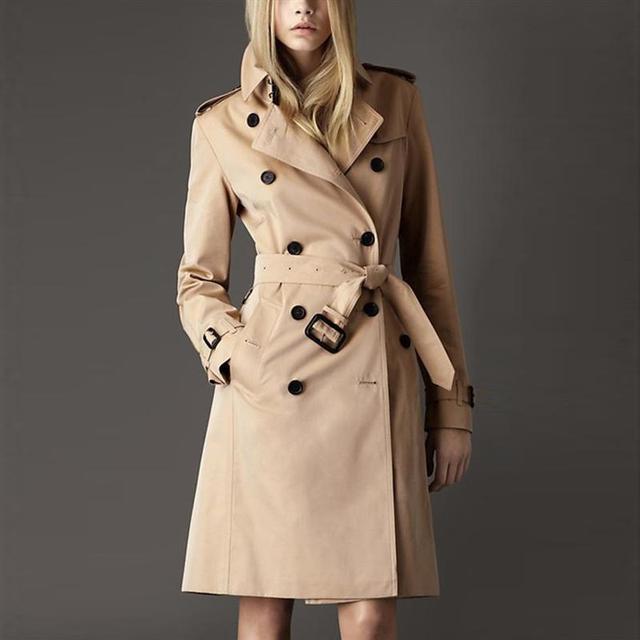 La alta Calidad Del Otoño Mujeres del Resorte OL Sólido Elegante Abrigo Con Cinturón Trench Coat Mujer Moda Delgado Más Tamaño Chalecos Mujer