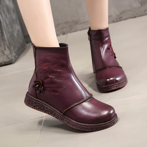 Image 5 - Women Flat Platform Shoes Autumn Winter Shoes Genuine Leather Ankle Boots for Women Footwear Soft Vintage Ladies booties 2020