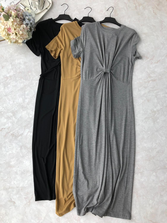 2019 new ladies fashion short sleeved round neck waist kinky cotton dress 0604