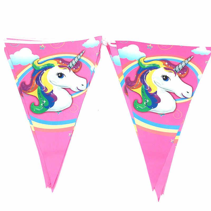 1 комплект баннеров с единорогом, 10 шт., малые флаги, товары для дня рождения, бумажные баннеры, флажки для детей на день рождения, 2,5 м