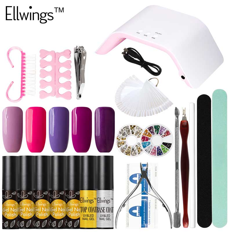 Ellwings 24W LED UV Lamp for Gel Varnish Base Top Coat and 5pcs Color Gel Nail Polish Nail Design Tool Manicure Set 12pcs lot green series uv gel nail polish led lamp gel lacquer gel polish vernis semi permanent gel varnish nail primer base top
