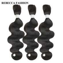 Rebecca Brazilian Remy Body Wave Bulk Human Hair For Braiding 3 Bundles Free Shipping 10 to 30 Inch Natural Color Extensions(China)