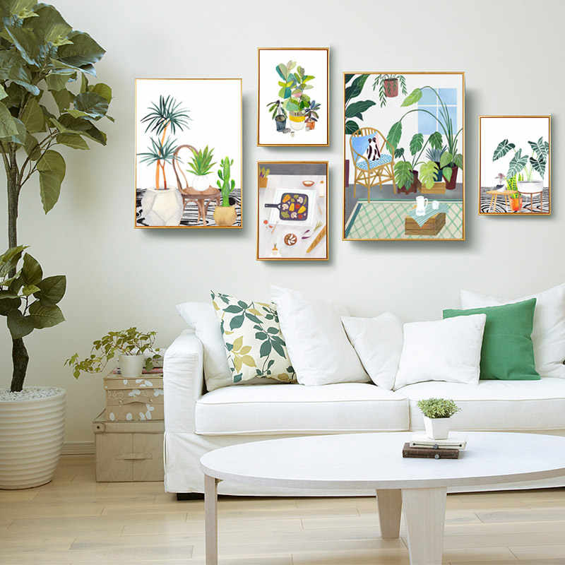 Succulents Potted Watercolor Cactus Nordic Poster Abstract Wall Pictures For Living Room Wall Art Canvas Painting Print Unframed