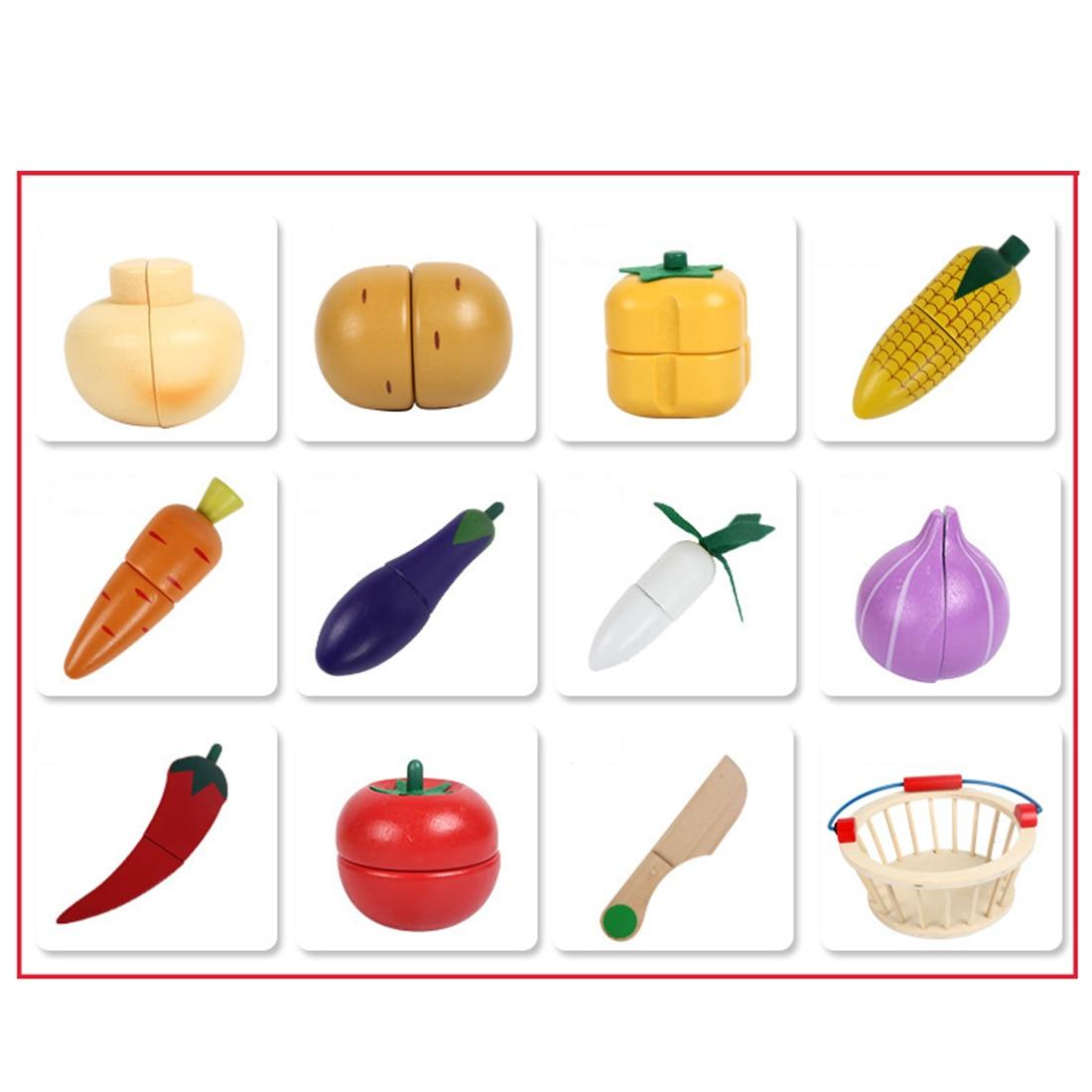 12 pçs de madeira magnética frutas e