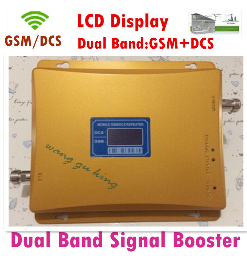LCD Display Dual Band GSM DCS Repeater GSM 900 MHz + DCS 1800 MHz Signal Repeater Mobile Amplifier Cell Phone Signal Booster