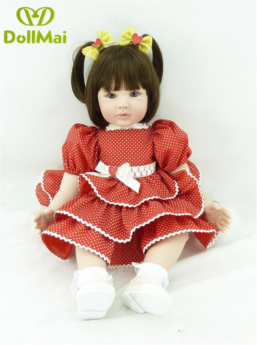 60cm Silicone Reborn Girl Baby Doll Toys Vinyl red Princess girl Toddler time Babies Dolls child Birthday Gift bebes reborn60cm Silicone Reborn Girl Baby Doll Toys Vinyl red Princess girl Toddler time Babies Dolls child Birthday Gift bebes reborn
