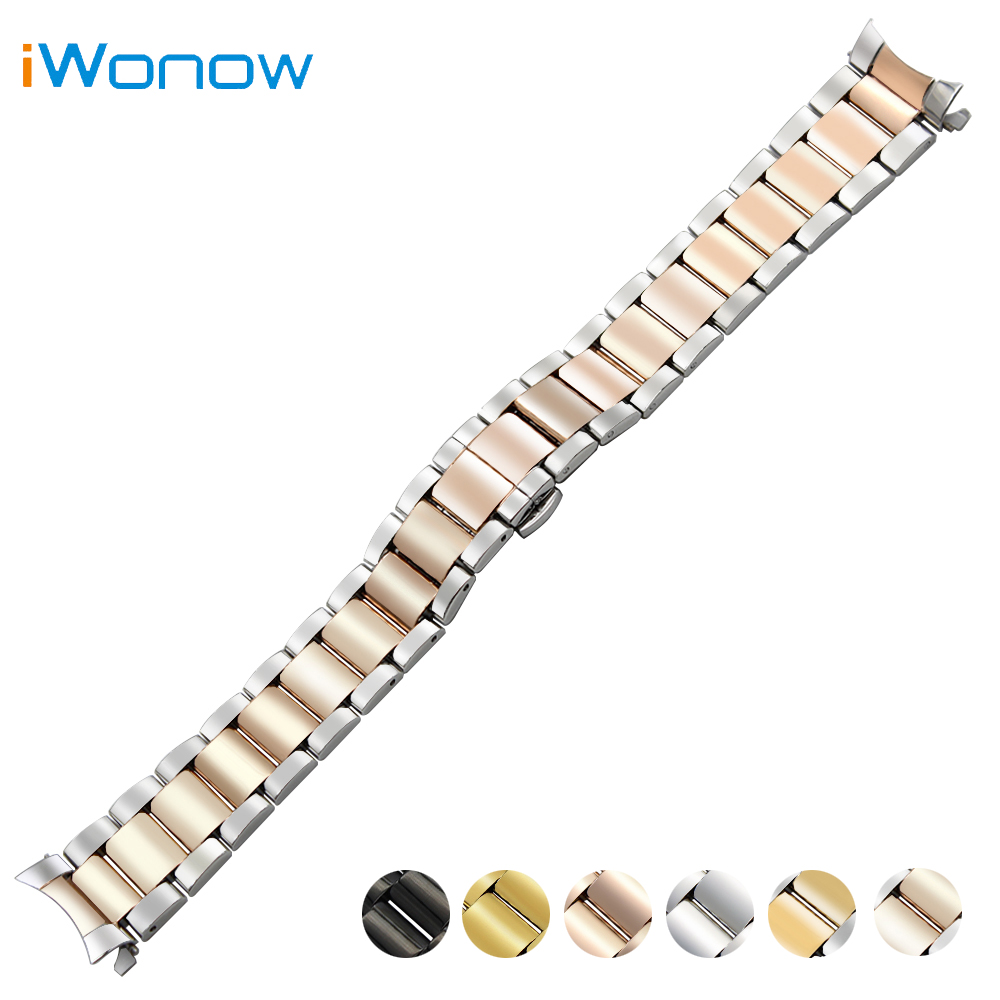 Stainless Steel Watch Band 18mm 20mm 22mm for Rolex Curved End Strap Butterfly Buckle Belt Wrist Bracelet Black Gold Silver curved end stainless steel watch band for breitling iwc tag heuer butterfly buckle strap wrist belt bracelet 18mm 20mm 22mm 24mm
