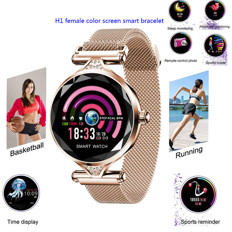 Nouvelle mode H1 femmes fille montre intelligente Android Bluetooth Fitness Tracker fréquence cardiaque pression artérielle pour Miyou Sport Smartwatch