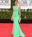 Shaun Robinson Celebrity Dresses 72 Golden Globe Awards Red Carpet Dress Scoop Neckline Sheer Mermaid Evening Dresses