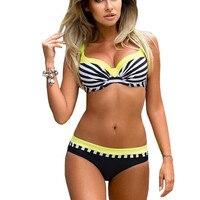 Large Size Striped Patchwork 2017 Women Push Up Swimsuits Bikini Set Sexy Retro Swimwear Female Bandage