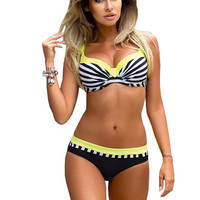 Large Size Striped Patchwork 2017 Women Push Up Swimsuits Bikini Set Sexy Retro Swimwear Female Bandage