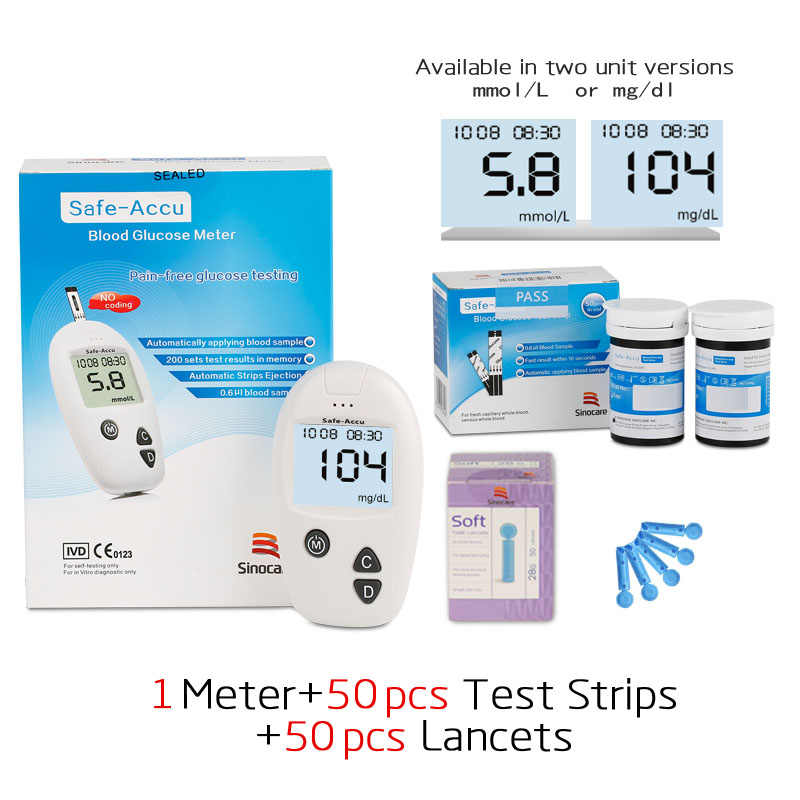 Sinocare Accu mmol&mg/dl Blood Glucose Meter 50pcs Test Strips/Lancet Needle For Diabetes Blood Glucometer Blood Sugar Detection
