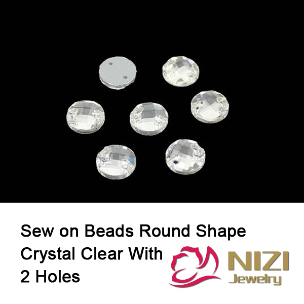 Glass Strass 10mm 12mm 14mm Round Flatback Crystal Clear Glass Strass Sew On DIY For Garment High Shine Strass With 2 Holes