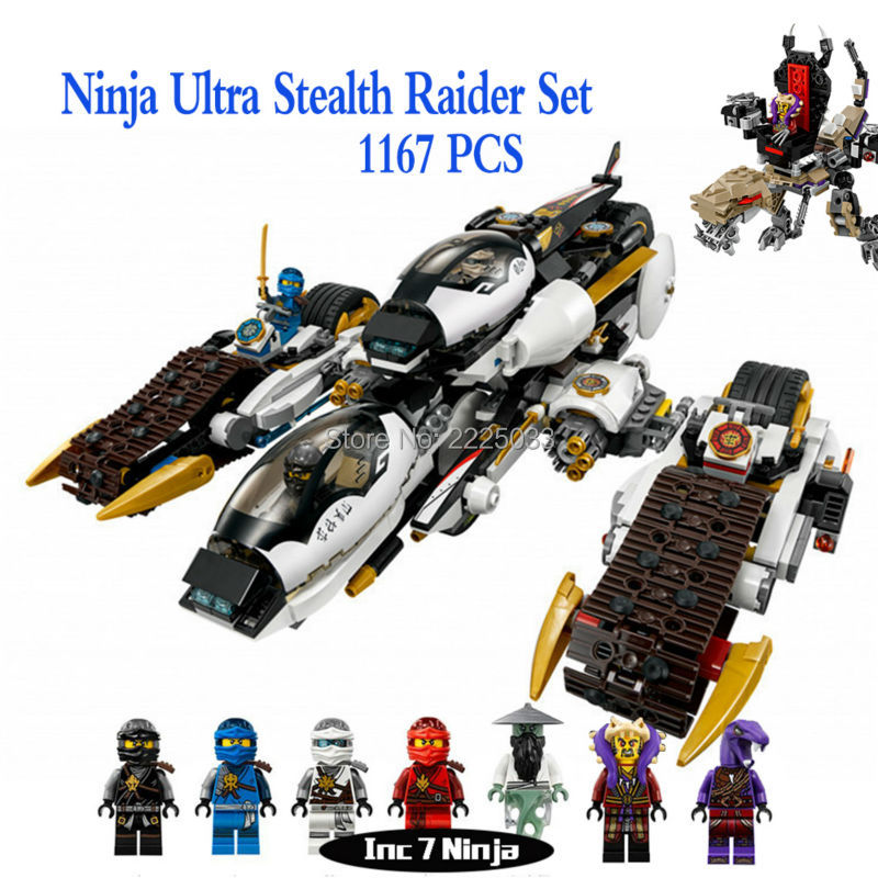 06038 1167Pcs NinjagoINGlys Series Ultra Stealth Raider Set ENLIGHTEN Blocks Bricks Toys Gift Compatible 70595