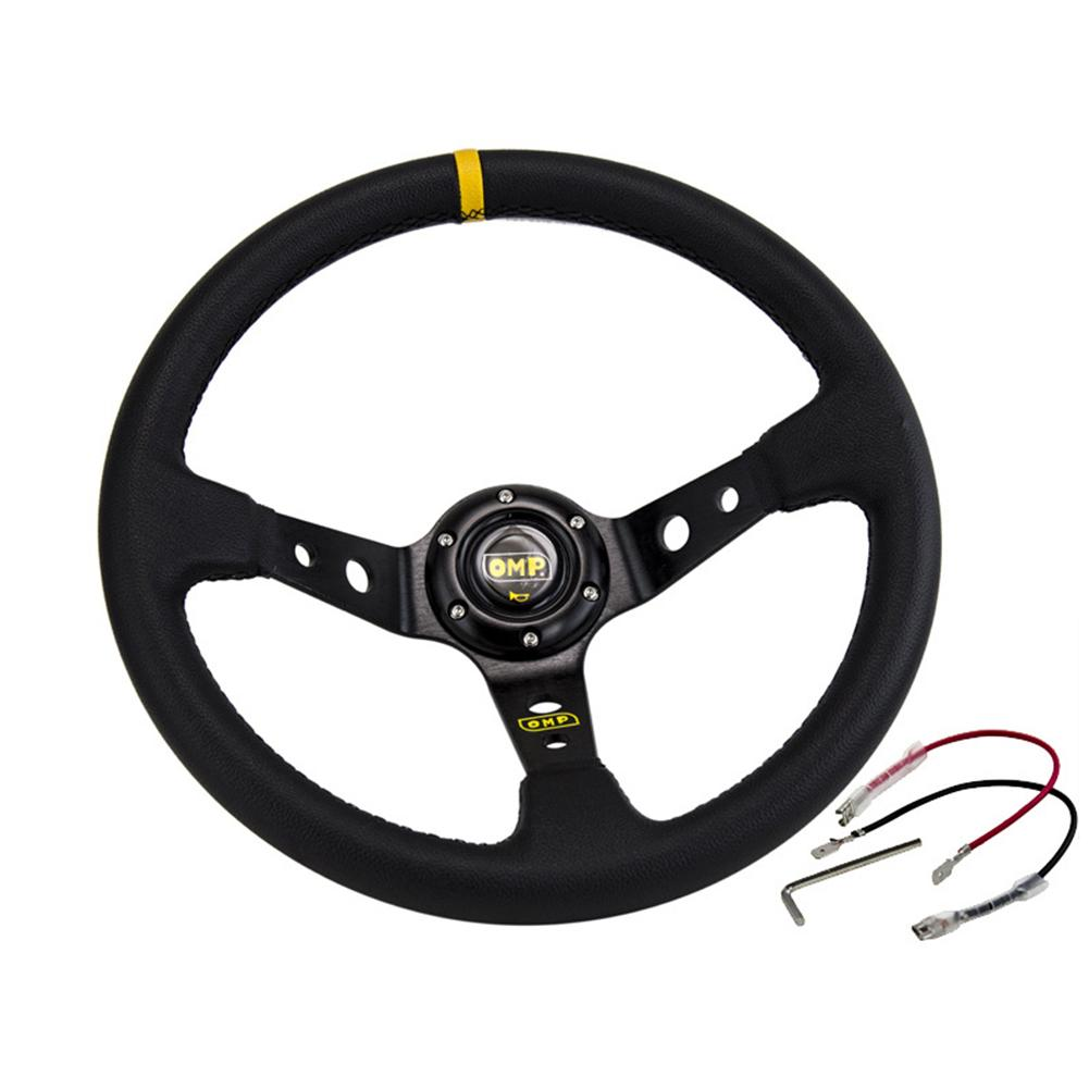 Universal Modify OMP Steering Wheel PVC Leather Imitation Car Racing General PVC Leather Steering Wheel 14 Inches/350mm
