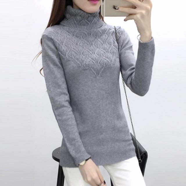 Dệt kim Chui Đầu Và phụ nữ áo len 2018 Autumn Winter Casual Cao Cổ áo len dài tay áo thun Thời Trang Kéo Femme áo len