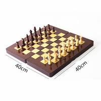 Superior Quality 40*40cm International Chess Set 3 in 1 Travel Games Chess Entertainment Wooden folding chessboard