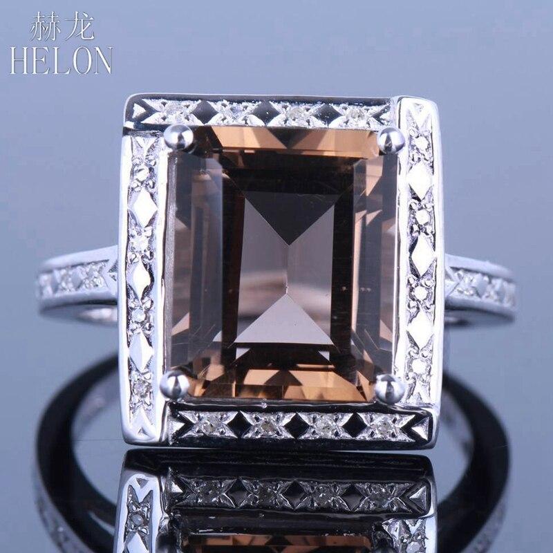 HELON 4.36ct 100% Genuine Smokey Quartz Jewelry Solid 14K White Gold Natural Diamonds Gemstone Engagement Wedding Fine Rings цена