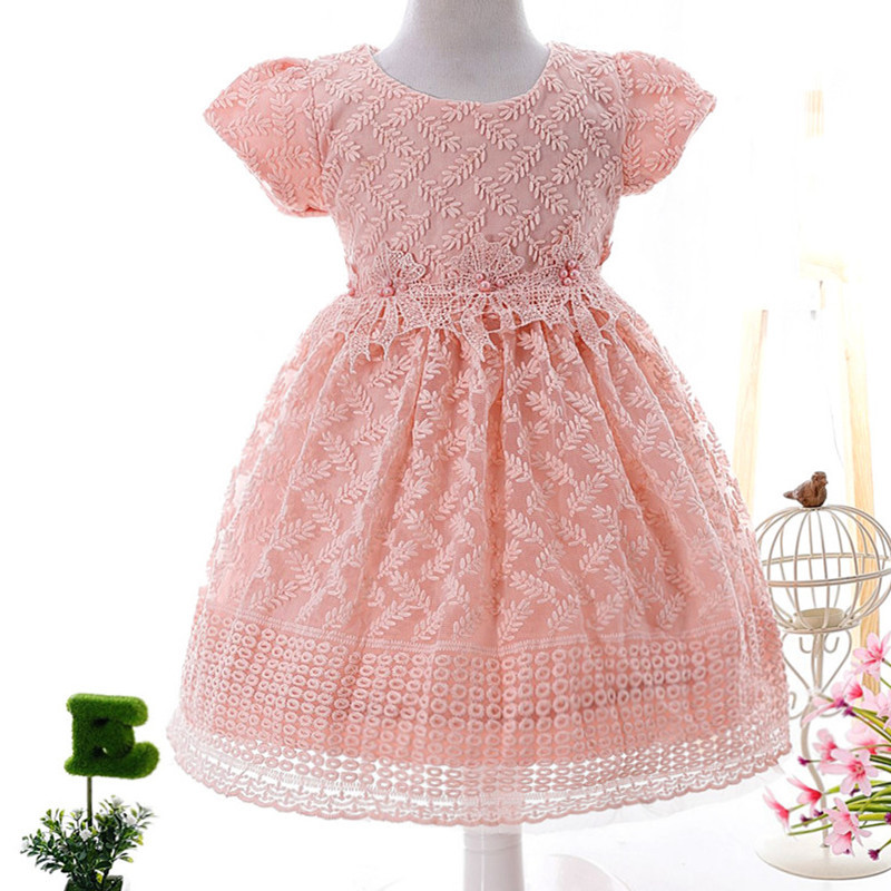 Infant Baby Girl Princess Wedding Flower Dress 2017 Pink Children Dress Tutu 1 Year Birthday Formal Party Dresses Vestido GDR272 baby girl infant 3pcs clothing sets tutu romper dress jumpersuit one or two yrs old bebe party birthday suit costumes vestidos