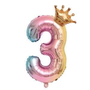 Image 5 - 大 32 インチヘリウム空気桁図ビッグクラウン番号箔バルーン誕生日パーティーの装飾