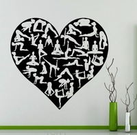 Yoga Poses Heart Wall Sticker Symbol Sports Fitness Vinyl Decal Studio Decor Living Room Creative Art