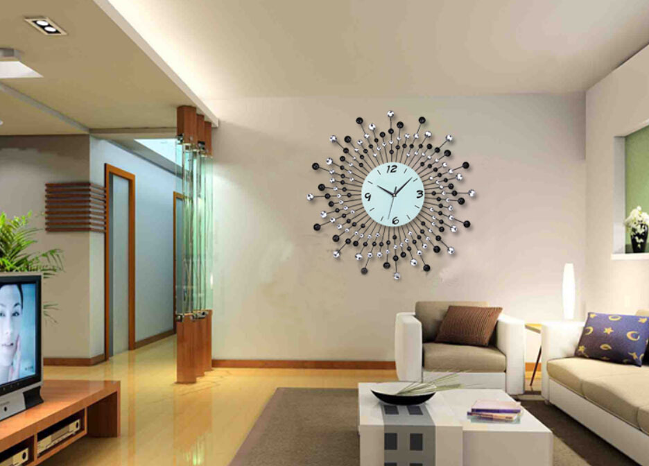 Home Decor Wall Clock Modern Design Diamond Quartz Iron Metal Silent Clocks Living Room European Large Zb202 In From