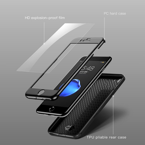 Image 2 - Baseus Fully Protection Case For iPhone 7 plus 8 plus Hard Ultra Slim phone Case Back Cover 9H protective glass for iPhone 7