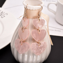 Hot style lovely girl pink heart earrings love long tassel Korean acrylic personality joker