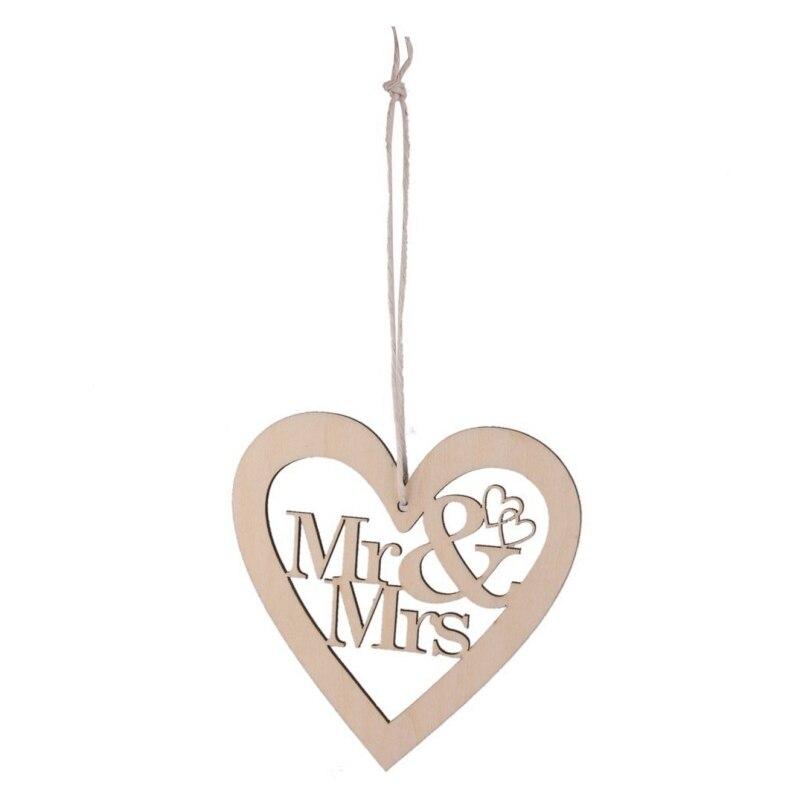 DIY 10PCS Christmas Wedding Love&Bird&Mr Wooden Pendants Ornaments Christmas Party Decorations Xmas Tree Ornaments Kids Gifts