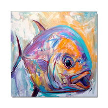 Hand painted pop Oil Painting On Canvas abstract fish big Wall Art Modern Living Room Decor Picture