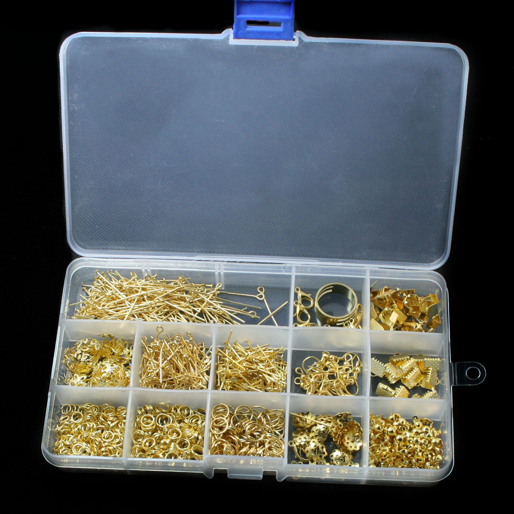 Diy Jewelry Findings Kit Gold Color Accessories Bead Caps Jump Rings Clasps Pins For Diy Fashion