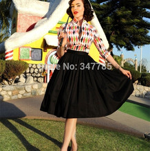 40- women vintage 50s black jenny skirt rockabilly pinup midi swing skirts  plus size saias femininas female faldas ef6122356a29