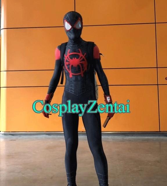2521031e672b0 Miles Animated Version Spiderman Cosplay Costume 3D Miles Morales Spiderman  Zentai Suit