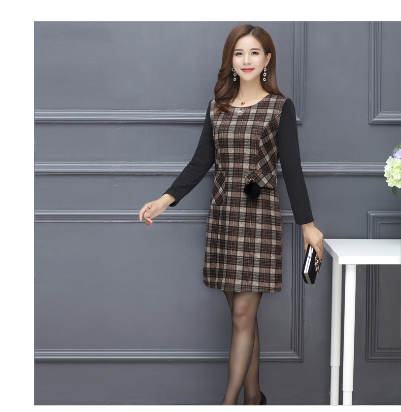 Winter Woman Elegant Tweed Dress Red Yellow Plaid Pattern Blends Robe Femme Thicken Fleece Dresses Woman Warm Shift Dress Office Outfits (12)