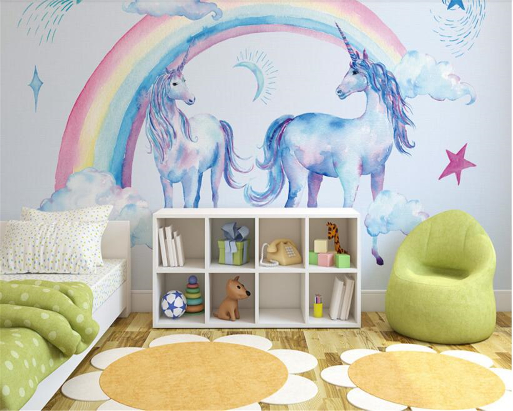 Us 9 0 40 Off Beibehang Japanese Cute Beautiful Rainbow Unicorn Pegasus Wall Interior Decoration Painting Three Dimensional Wallpaper Behang In
