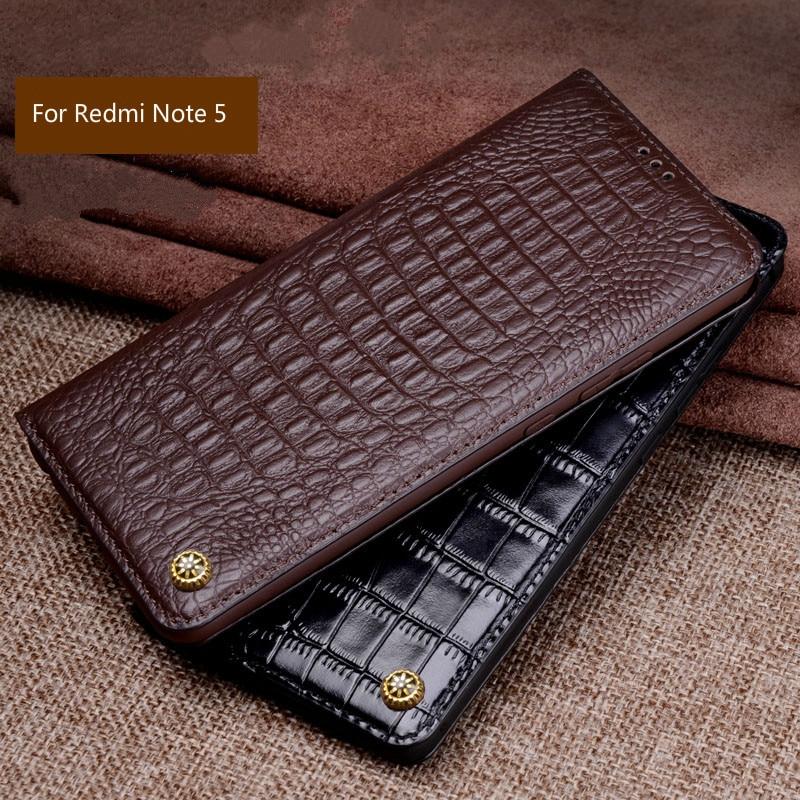 Original de luxe Marque En Cuir de Crocodile Véritable Téléphone coque pour xiaomi Redmi Note 5 Étui De Téléphone De Mode Sacs pour Redmi Note 5 Pro