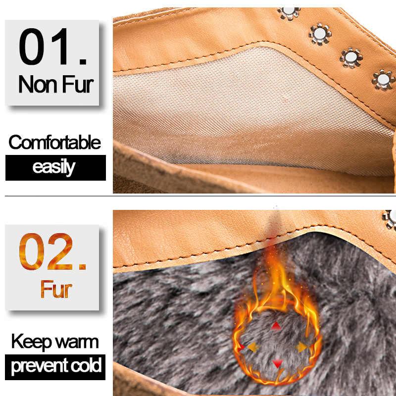 Weideng Klasik Brogue Kadın Hakiki Deri Çizme Rahat Kış Ayakkabı Lace Up iş ayakkabısı kaymaz Toynak Topuklar Artı Boyutu