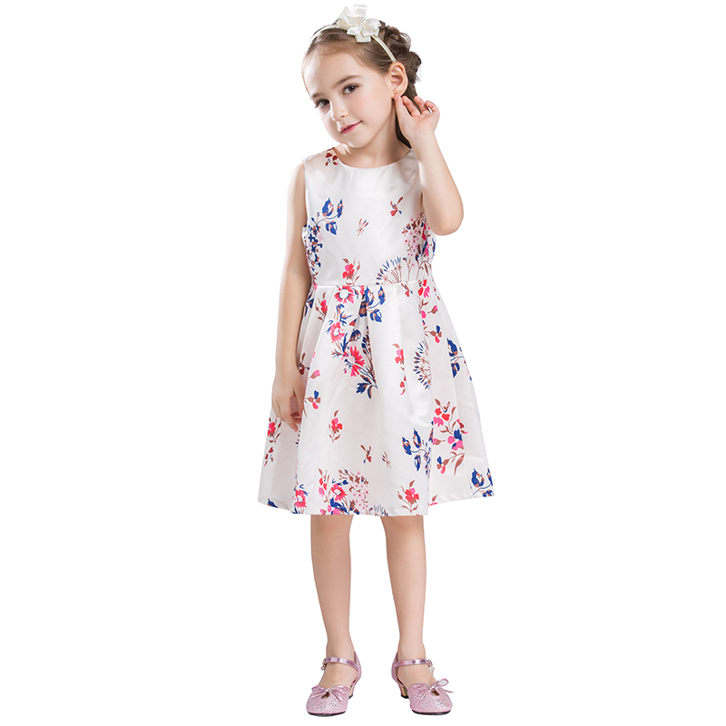 B&N Printed Floral Girls Dresses Summer Childrens Dress Sleeveless Infantil Baby Party For Girl Prom