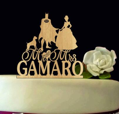 Custom Name Batman Silhouette Rustic Wedding Mr Mrs Birthday Cake Toppers Bridal Baby Shower Bachelor Party Theme Decorations In Decorating Supplies
